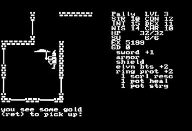 A player navigates the dungeon in the IBM version 800px-Telengard Screen Shot2.jpg