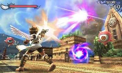 The Aerial Top And Ground Based Bottom Gameplay Of Kid Icarus Uprising Featuring Protagonist Pit Battling With Enemies