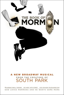 The book of mormon musical wikipedia poster illustrates a man mid jump clad in a uniform common to mormon missionaries fandeluxe Choice Image