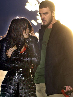 Justin Timberlake and Janet Jackson immediately after Timberlake tore off part of Jackson's clothes at the end of their halftime performance during Super Bowl XXXVIII.