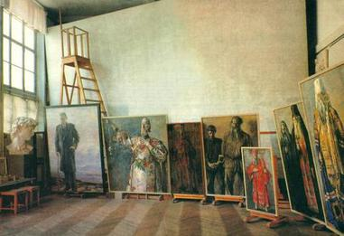 Photo of Korin's studio showing the canvas for the Farewell to Rus drawing, 1960s Korins studio.jpg