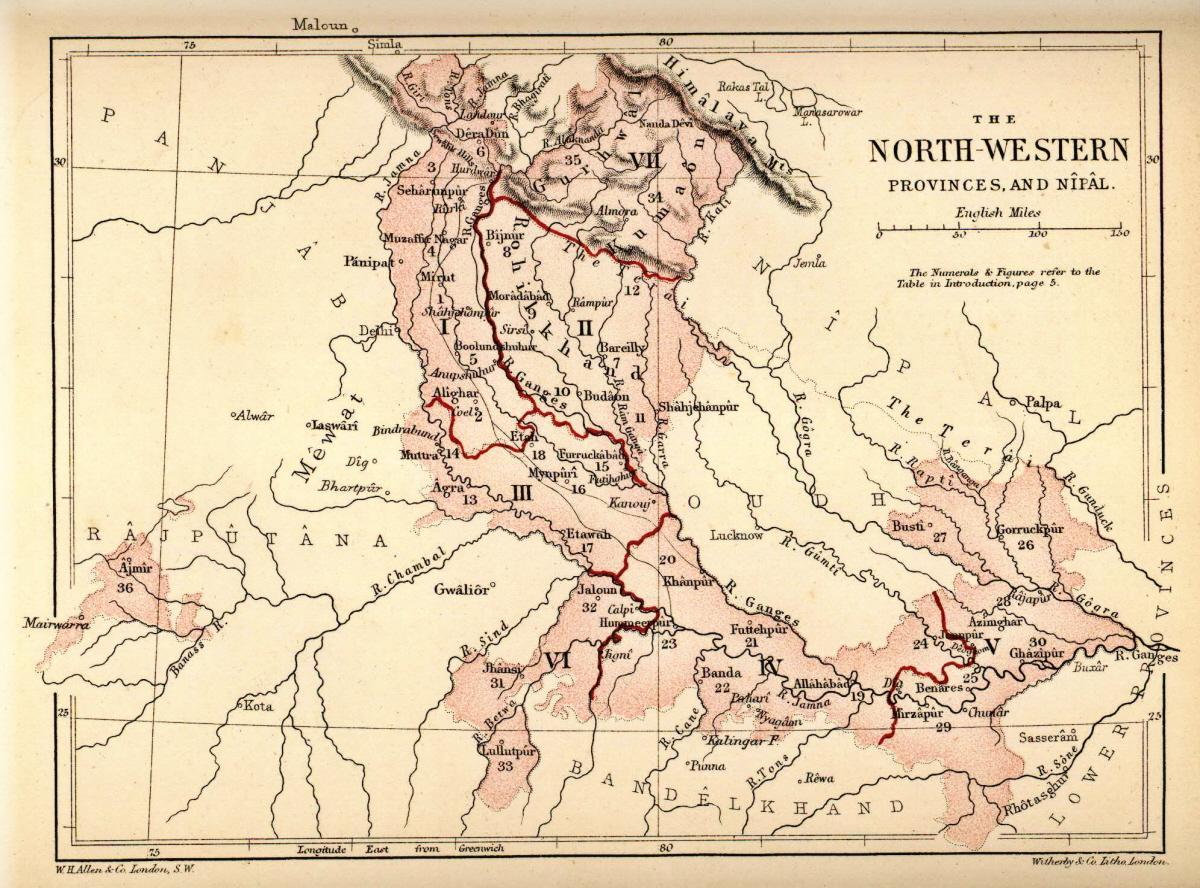 North-Western Provinces - Wikipedia on map of united kingdom, map south india, map of united arab emirates, map of iran, map of singapore, map of rajasthan, map of khajuraho, map of mumbai, map of gujarat, map of pakistan, map of burma, map of goa, map of bihar, map of kerala, map of kolkata, map of assam, world map india, map of delhi, map of yemen, map of varanasi,