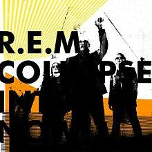 A black silhouette of REM from left to right Peter Buck Michael Stipe and Mike Mills stand in front of a white background with yellow and orange lines The words REM  COLLAPSE  INTO  NOW are written in black
