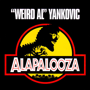 "Front cover of the Alapalooza album. A skeletal tyrannosaurs with the head of ""Weird Al"" Yankovic is framed by a yellow circle with a shadowy jungle and a red border across the entire scene. The name of the artist and the album appear in white letters above a pure black background."