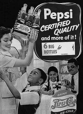 1940s advertisement specifically targeting African Americans, A young Ron Brown is the boy reaching for a bottle Pepsi targeted ad 1940s.jpg