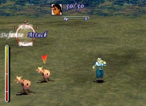 Typical battles use the Active Time Battle system. Once a character's ATB gauge fills, the player can input a battle command for that character. Xenogearsbattlescene.jpg