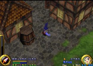 "Gameplay of Musashi in evening as described in the bottom right. The left bottom bar shows Musashi's health points as well as his ""Bincho Energy."" Brave Fencer Musashi gameplay.jpg"