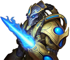 A Protoss warrior, as displayed in StarCraft II.