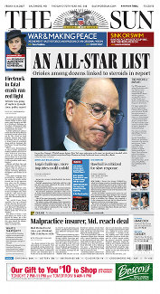 The release of the Mitchell Report is reported on the front page of The Baltimore Sun the day after its release