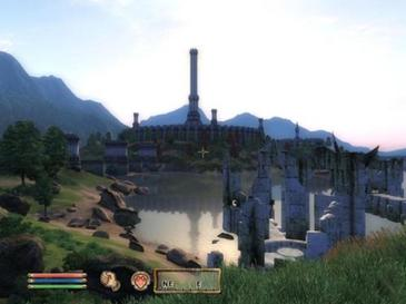 "An in-game screenshot showing Oblivion's user interface, HDR lighting and long draw distance, improvements made as part of a goal to create ""cutting-edge graphics"" ElderScrollsOblivionScreenshot11.jpg"