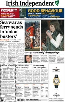 Broadsheet version of the Irish Independent, 2...