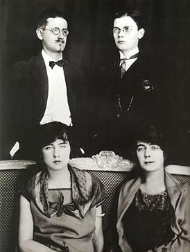 Paris 1924: Clockwise from top left – James Joyce, Giorgio Joyce, Nora Barnacle, Lucia Joyce