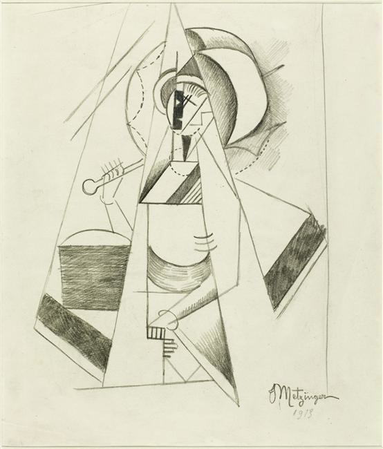 Filejean Metzinger 1913 Study For Le Canot Pencil