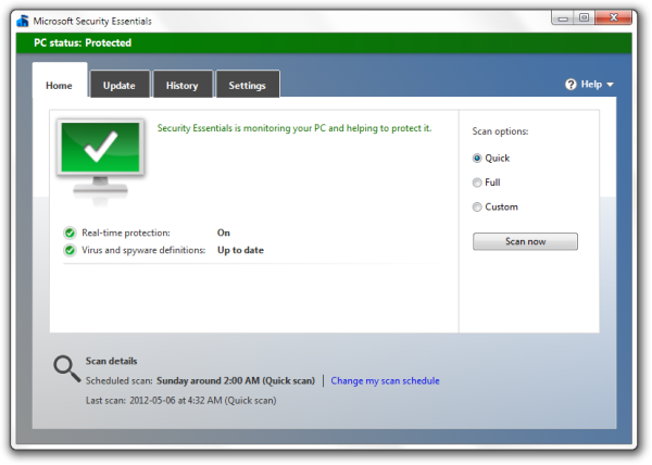 Microsoft Security Essentials freeware screenshot