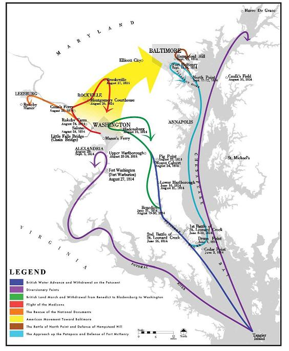 British and American movements during the Chesapeake Campaign 1914 Chesapeake Campaign Map.jpg