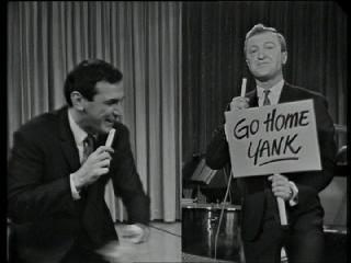 Don Lane appearing split-screen with Graham Kennedy via coaxial cable, live on In Melbourne Tonight. Lane and Kennedy split screen.jpg