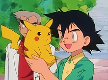 Ash receiving his Pikachu in the first episode of the Pokémon anime, Pokémon, I Choose You!