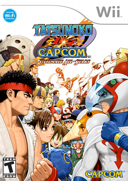 North American box art depicting the Capcom and Tatsunoko characters