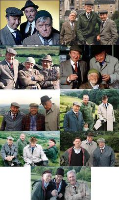 A collage illustrating the different compositions of the main characters during Last of the Summer Wine's 37 year run. From left to right: Series 1–2, Series 3–8 & 12–18, Series 9–11, Series 19–21, Series 21, Series 22–24, Series 25–27, Series 28–29, Series 30–31.