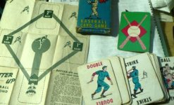 Early Batter-Up Baseball deck, c. 1949, with instruction sheet/diamond diagram