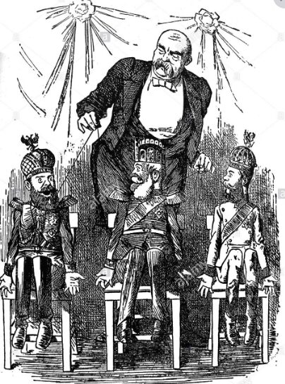 Bismarck manipulates the emperors of Austria, Germany & Russia like a ventriloquist's puppets; John Tenniel 1884 PUNCH Bismarck emperors Austria, Germany & Russia as puppets.jpg