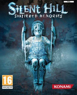 "A cover of a video game. It depicts a female child encased in ice on a swing, surrounded by an icy environment; on the upper part of the image, a title reads ""Silent Hill: Shattered Memories"". Other markers indicate that this game is published by Konami in the PAL region and is intended for gamers sixteen years old and older."