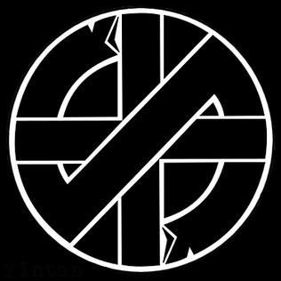 Black-and-white cross and diagonal line inside a circle