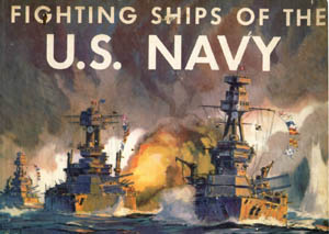 An oil painting of World War II ships in combat.