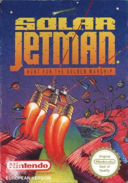 Box art for Solar Jetman: Hunt for the Golden Warpship. The cover mis-spells the game as Warship