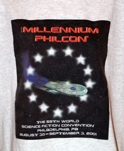 Tee shirt from the Millennium Philcon World Science Fiction Convention, 2001.jpg