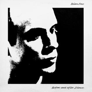 A picture of the album cover depicting a white border with a stark black and white image of the side profile of Brian Eno's face. In the top right corner is Brian Eno's name. In the bottom right corner the album's title is written.