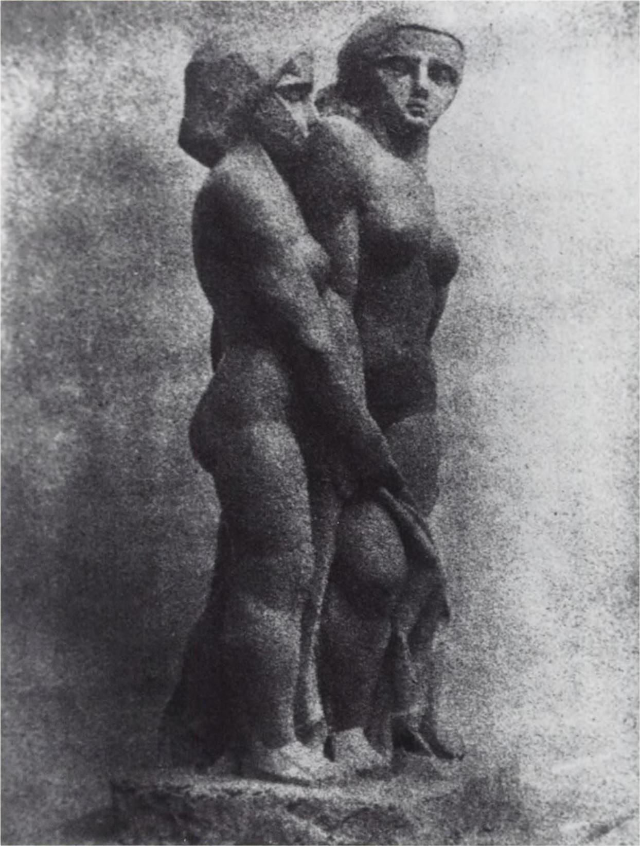 Joseph Csaky, 1911-1912, Groupe de femmes (Groupe de trois femmes, Groupe  de trois personnages), plaster lost, Exhibited at the 1912 Salon d'Automne  and ...