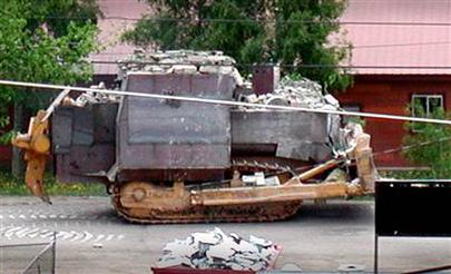 Heemeyer used this armor-plated Komatsu D355A bulldozer to destroy 13 buildings in Granby, Colorado.