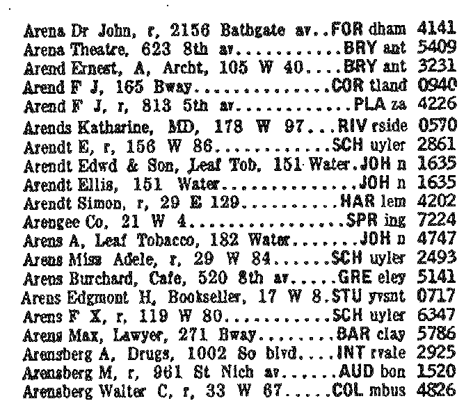 telephone numbers listed in 1920 in new york city having three letter exchange prefixes