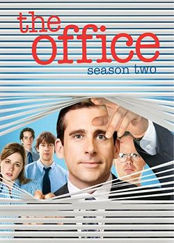 The image is of the cover of the season DVD. It features the five main leads (Carell, Fischer, Krasinski, Wilson, and Novak) looking through venetian blinds.