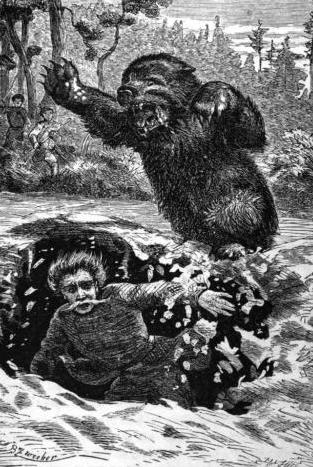 Illustration of a brown bear attacking Russian...