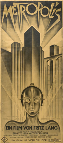 Poster of a robot standing in front of a futuristic urban skyline