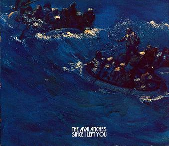An aquatic scene depicts three rubber rafts with about ten people in each. The water has white crested waves. The left raft is separated from the leading two by a chest high wave. A person stands in the right raft and is facing back to the last one with an arm raised. The band's name is written in white letters near the bottom with the album's title below it; both use the same block capital script.