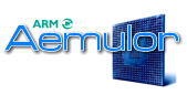 A logo consisting of turquoise text reading ARM above larger blue text reading Aemulator. A stylized picture of a blue square circuit board is behind the text