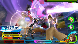 Terra battling the Trinity Armor with Aqua and Ventus. Kingdom Hearts Birth by Sleep Gameplay.jpg