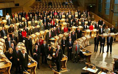 The 2003 election's 129 Members of the Scottish Parliament; 73 represented individual constituencies and 56 represented eight additional member regions.