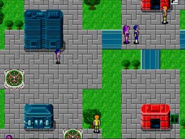 Phantasy Star II's top-down style travel is shown with protagonists Rolf and Nei moving through a town. Phantasystar2 top down.jpg