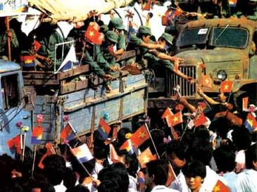 10 years of the Vietnamese occupation of Kampuchea officially ended on 26 September 1989, when the last remaining contingent of Vietnamese troops were pulled out. The departing Vietnamese soldiers received much publicity and fanfare as they moved through Phnom Penh, the capital of Kampuchea. Phnom Penh 1989.jpg