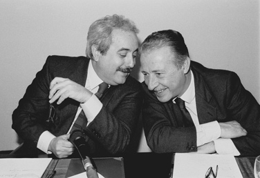 Giovanni Falcone and Paolo Borsellino. The picture of both assassinated judges became an iconic symbol of the struggle against Cosa Nostra. It is often used on posters and articles commemorating the fight against the Mafia. Giovanni Falcone and Paolo Borsellino.jpg