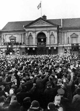 Hitler making a speech in Memel the day after the ultimatum was accepted Hitler speech in klaipeda.jpg