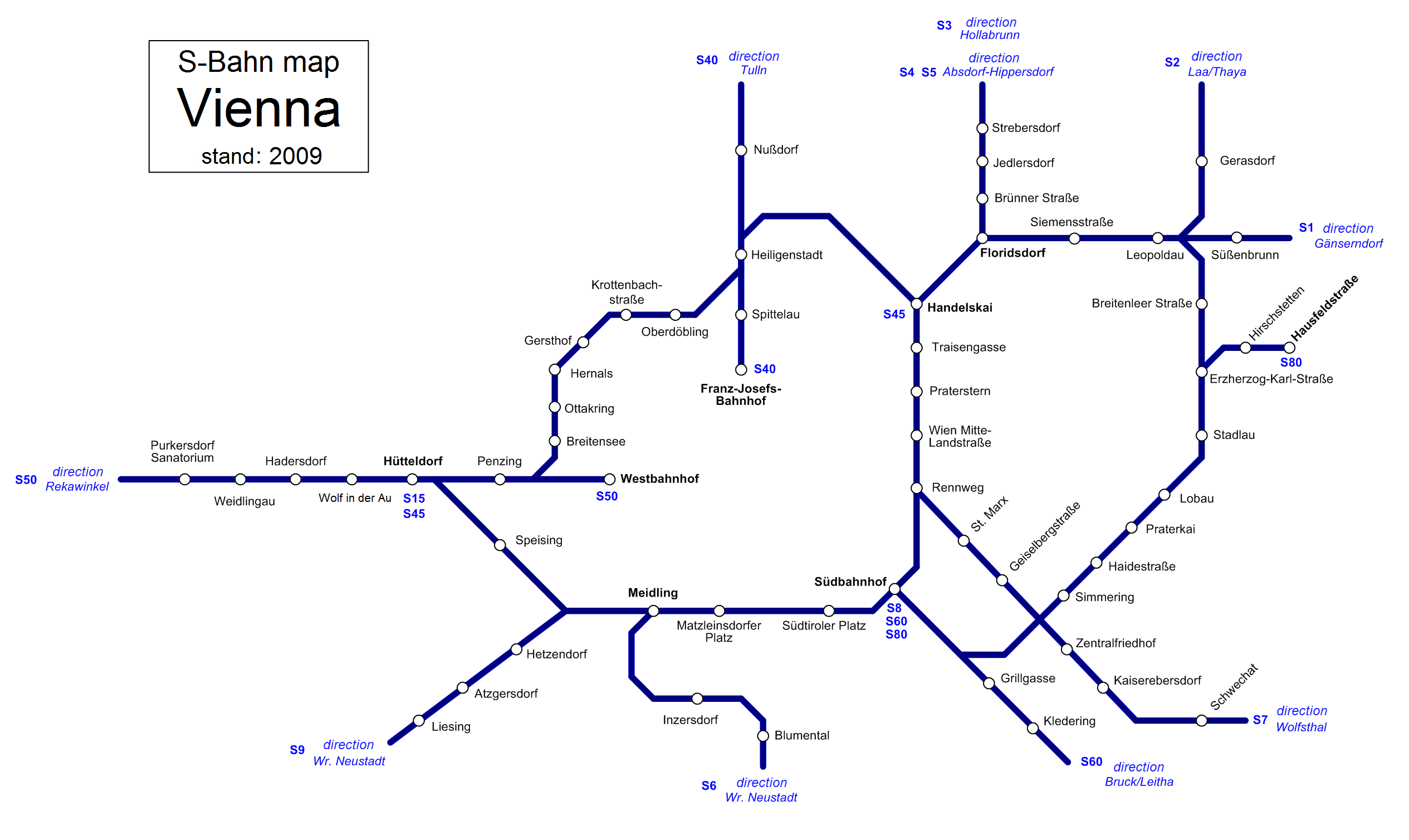 Vienna S-bahn And U-bahn Map Vienna Suburban Rail Map
