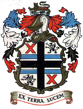 "St. Helens County Borough Council coat of arms 1876–1974, ""Ex Terra Lucem"" - ""From the Ground, Light"" granted in 1876"