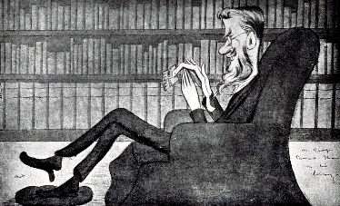 """The strenuous literary life--George Bernard Shaw at work"": 1904 caricature by Max Beerbohm Bernard-Shaw-1904.jpg"