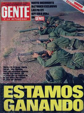 "Gente's ""Estamos ganando"" headline (""We're winning"") Gentemayo1982.jpg"