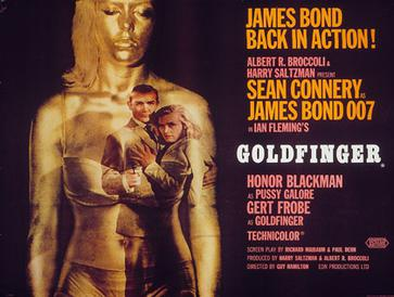 "On a black background, a woman in underwear painted gold stands on the left. An image of Bond and a woman is projected on the right side of the woman's body. On the left is a phrase of the tagline: ""James Bond Back in Action"". Below is the title and credits."